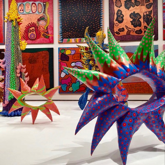 Kusama's Paintings and Sculptures.