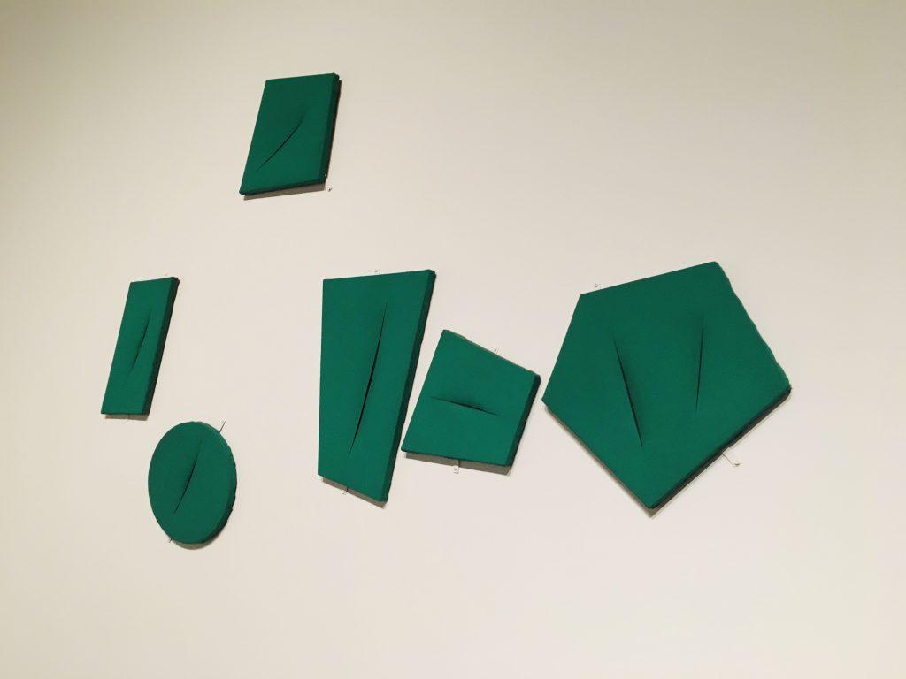 Green shapes slashed by Fontana