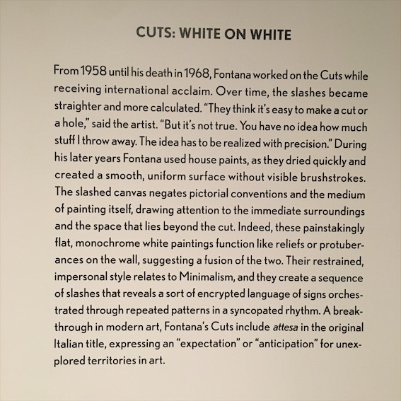 Cuts: White on white work description, lucio fontana