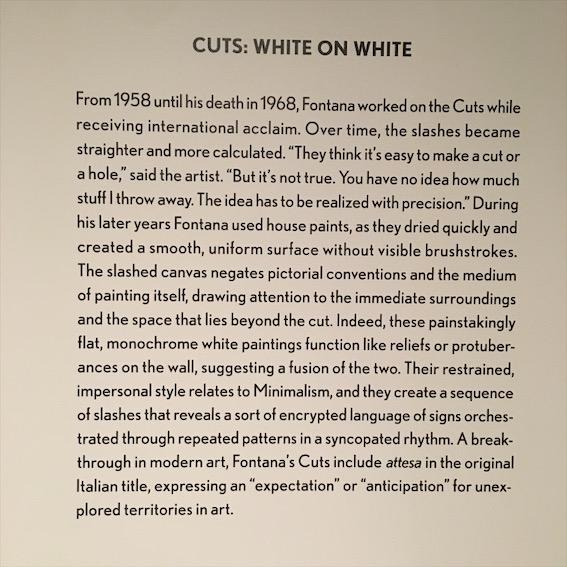 Cuts: White on white work description, lucio fontana