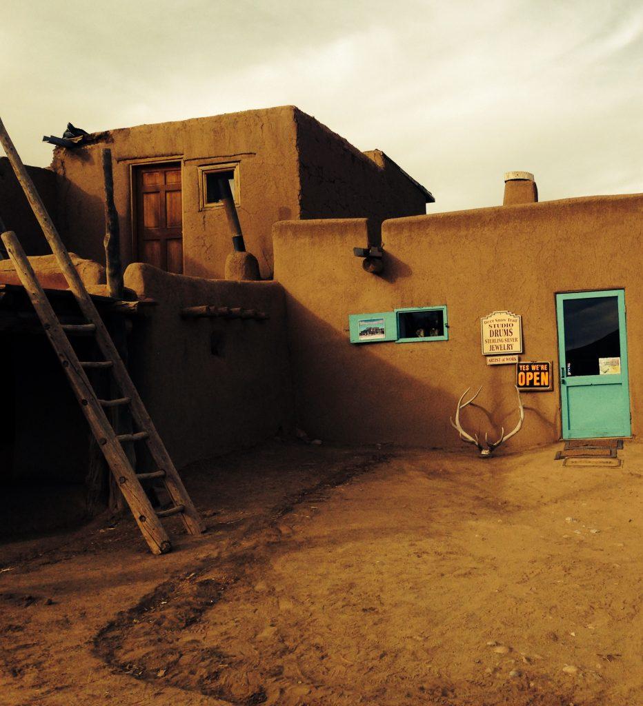 Teal against clay - Taos Pueblo
