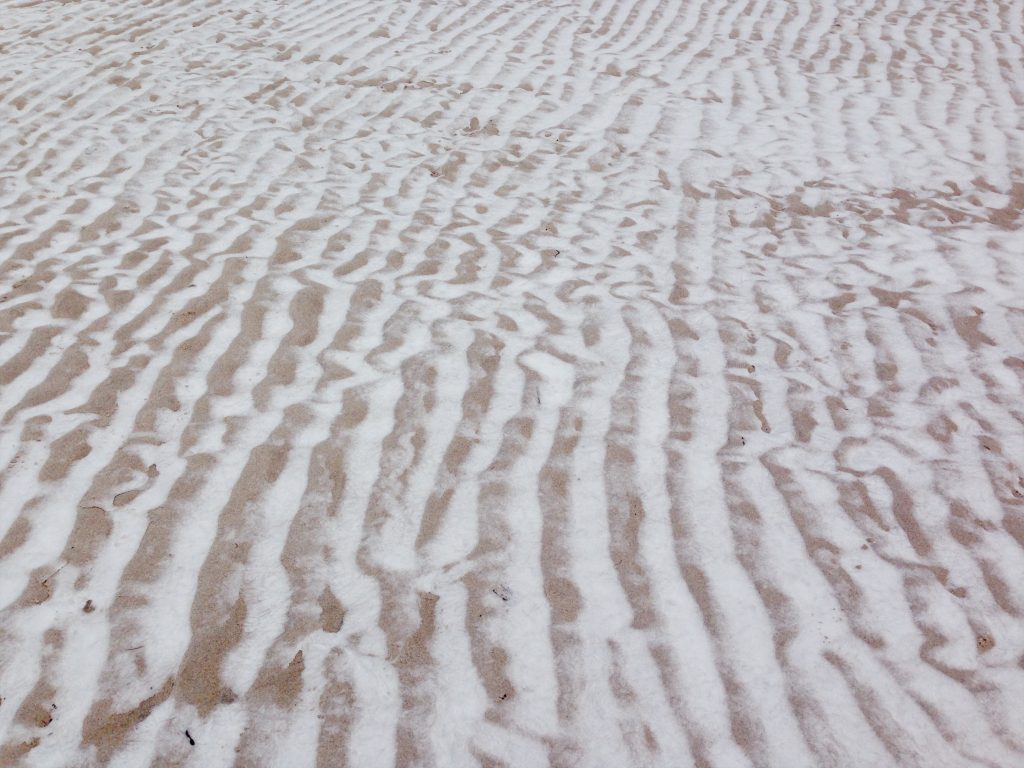 Sand ripples cut with snow