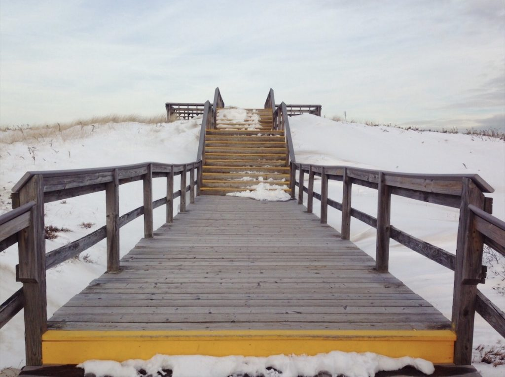 Snow covered beach in Massachussettes