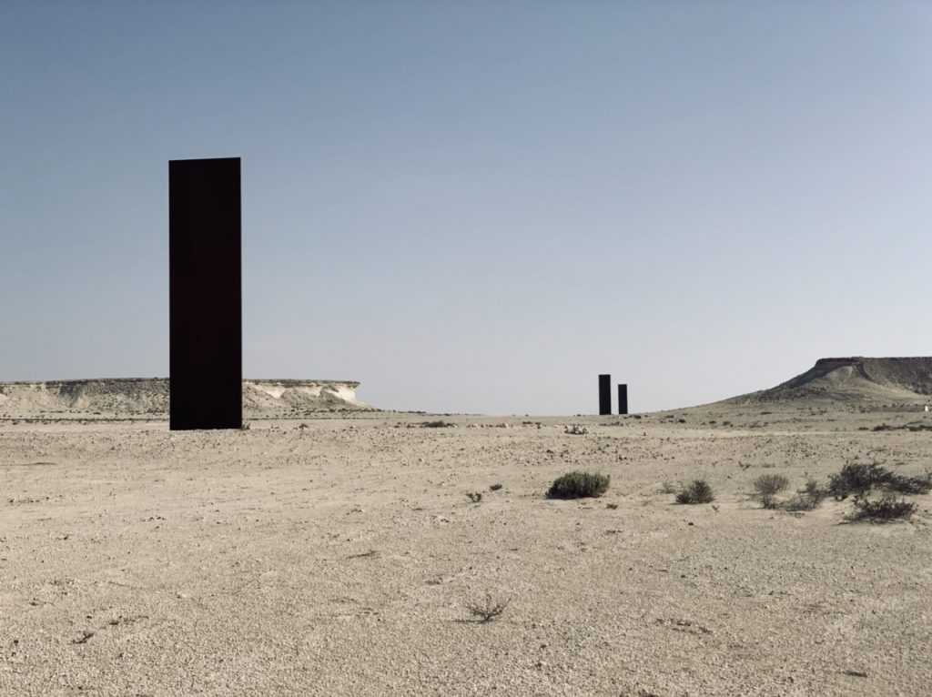 3 of the 4 steel sculptures by Richard Serra in the Qatari desert