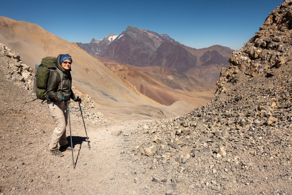 Sofie - hiking at the Andes