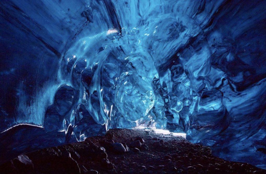 Amazing blue Sapphire Ice Cave  Island
