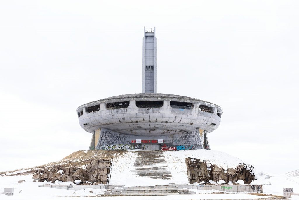 Futuristic abandoned building in the snow.