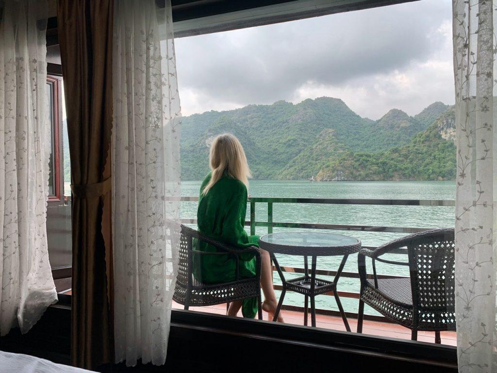 Halong Bay Boat cabin balcony - Pandora Cruise.