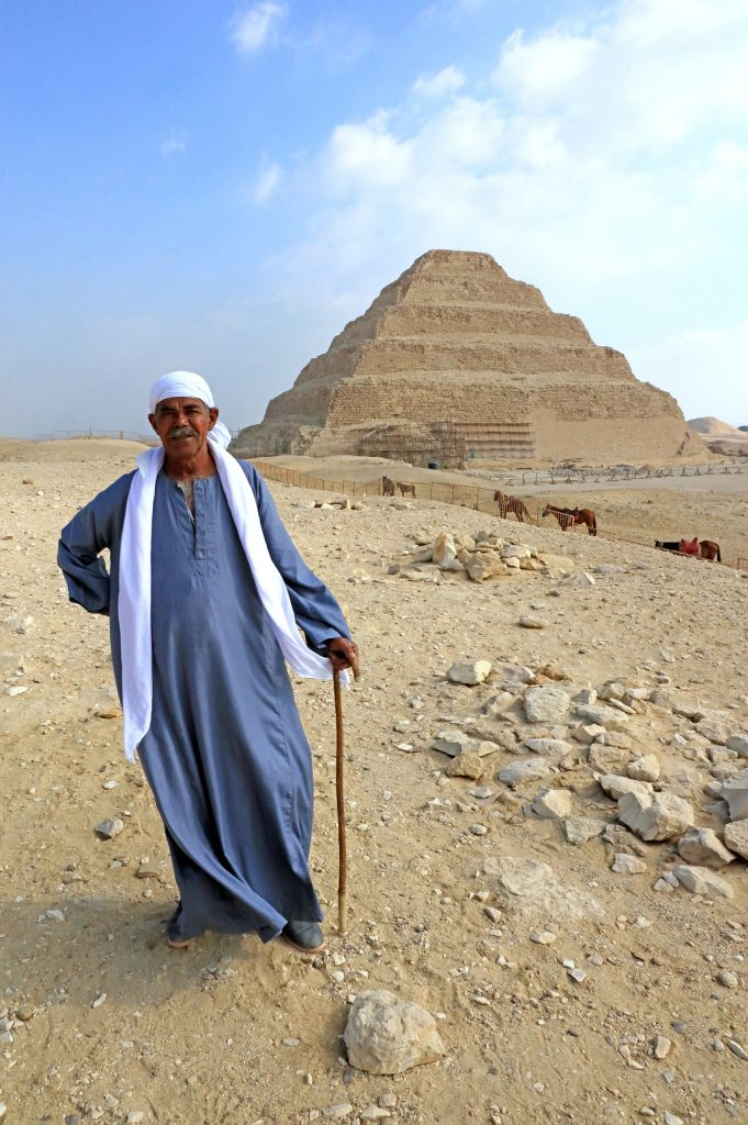 Saqqara guide near the step pyramid, Djoser.