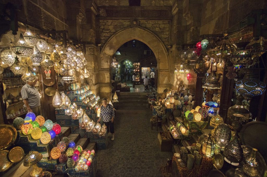 The market of Khan el-Khalili is filled with lights and trinkets from the local shops.