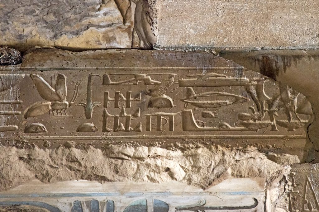Temple of Seti with hieroglyphics.
