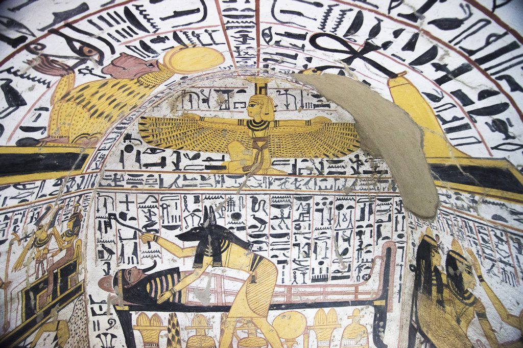 Tomb of the Workers detail with hieroglyphics on the ceiling.