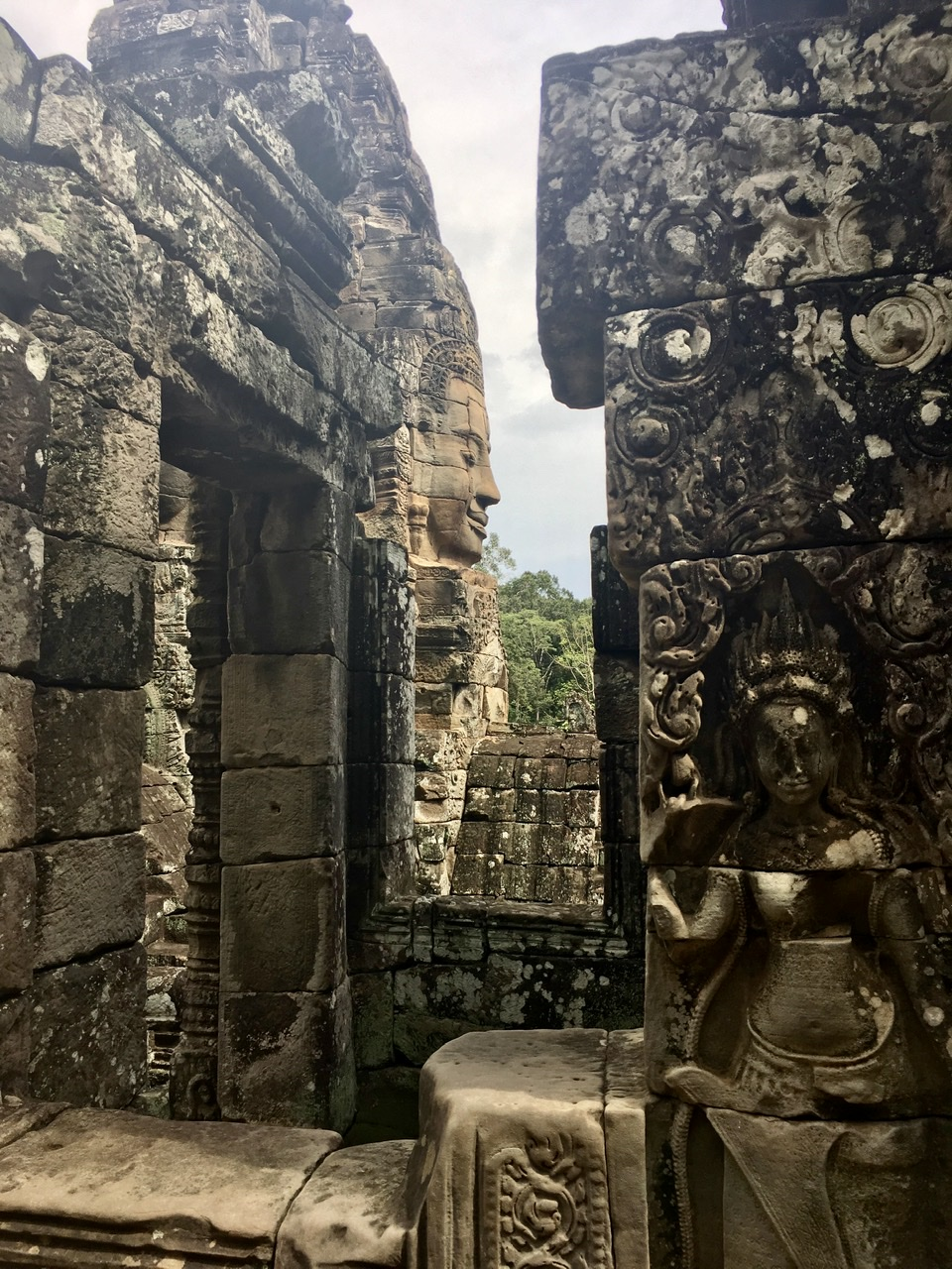 Bayon Temple Profile of the face and  Stone art.