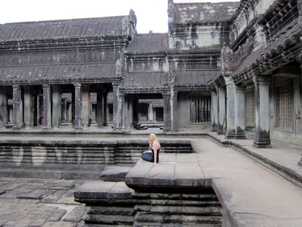 The inside of the Angkor Wat Temple in Cambodia.