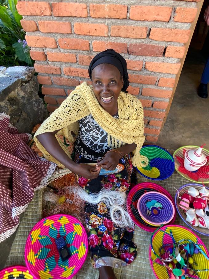 Rwanda woman making crafts