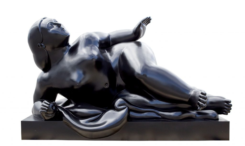 Reclining Woman sculpture by Fernando Botero.