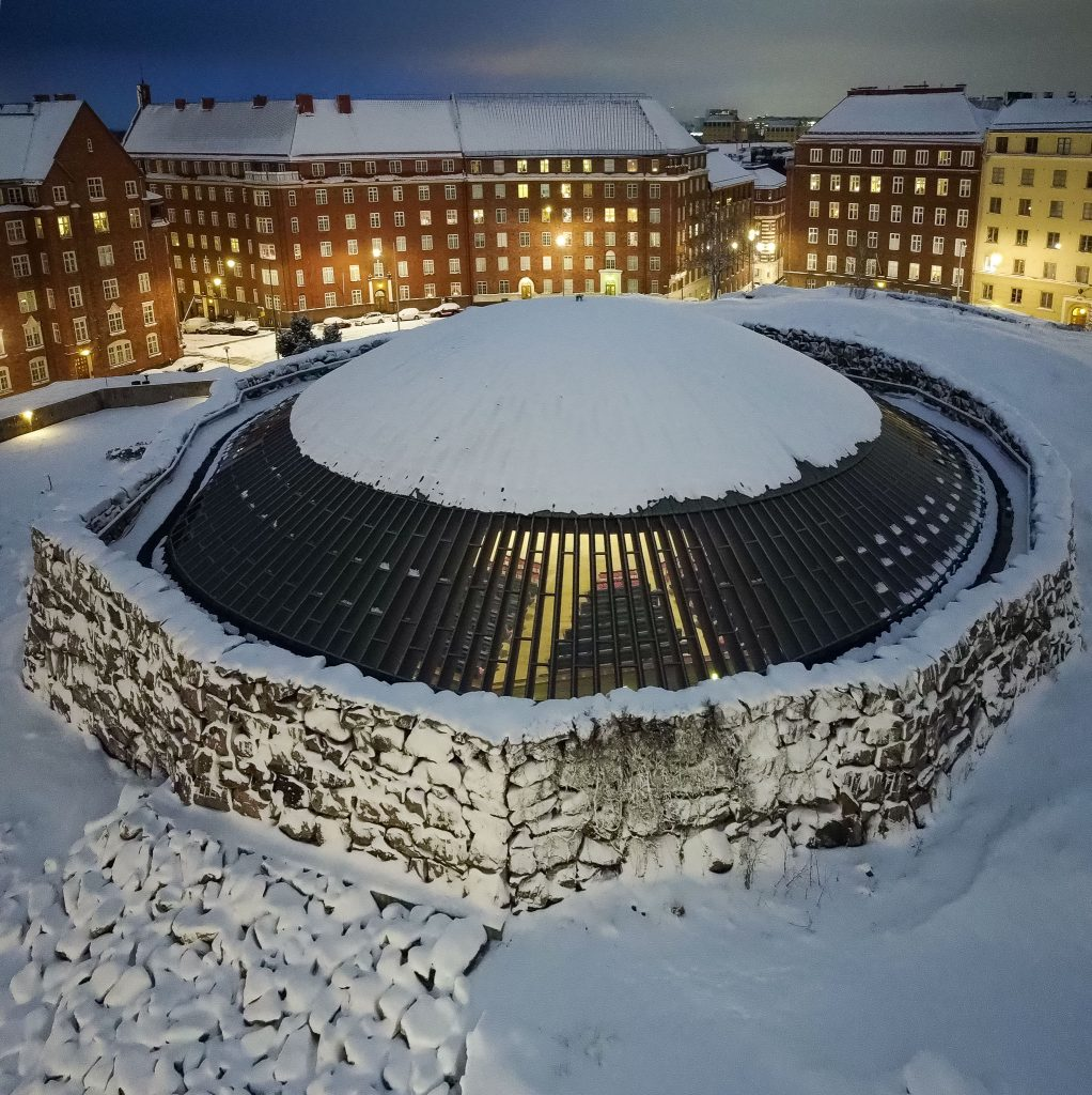 Top view of the snow covered Temppeliaukio Church The Rock Church In Helsinki  Photo by Sofie von Frenckell