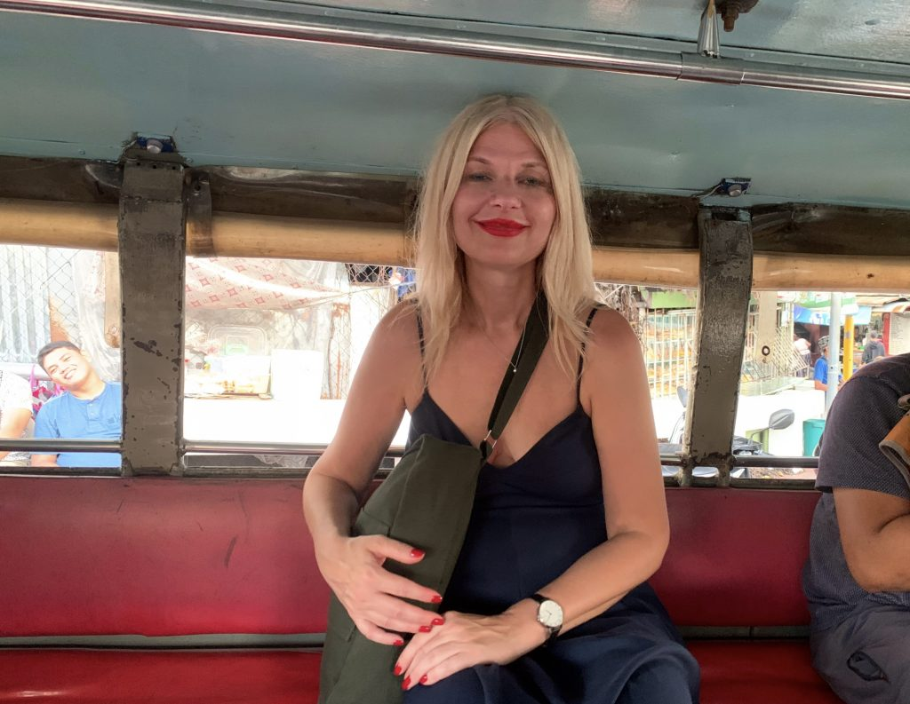 Tijana in a Jeepney in the Philippines
