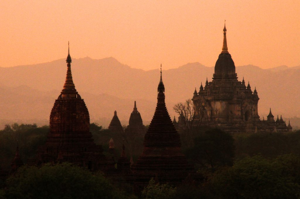 Myanmar. Bagan at sunset.