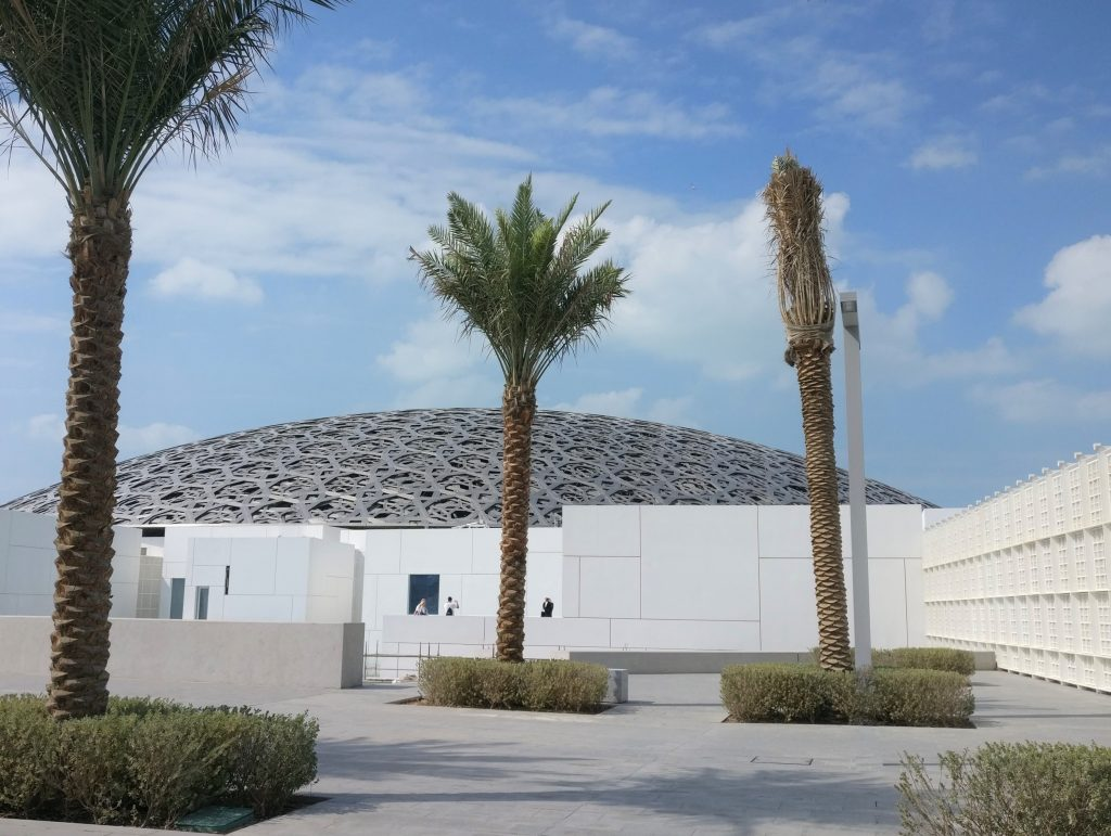 Louvre Abu Dhabi Outside with palms