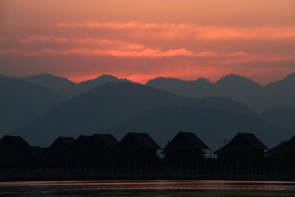 Myanmar Sunset at Inle Lake.