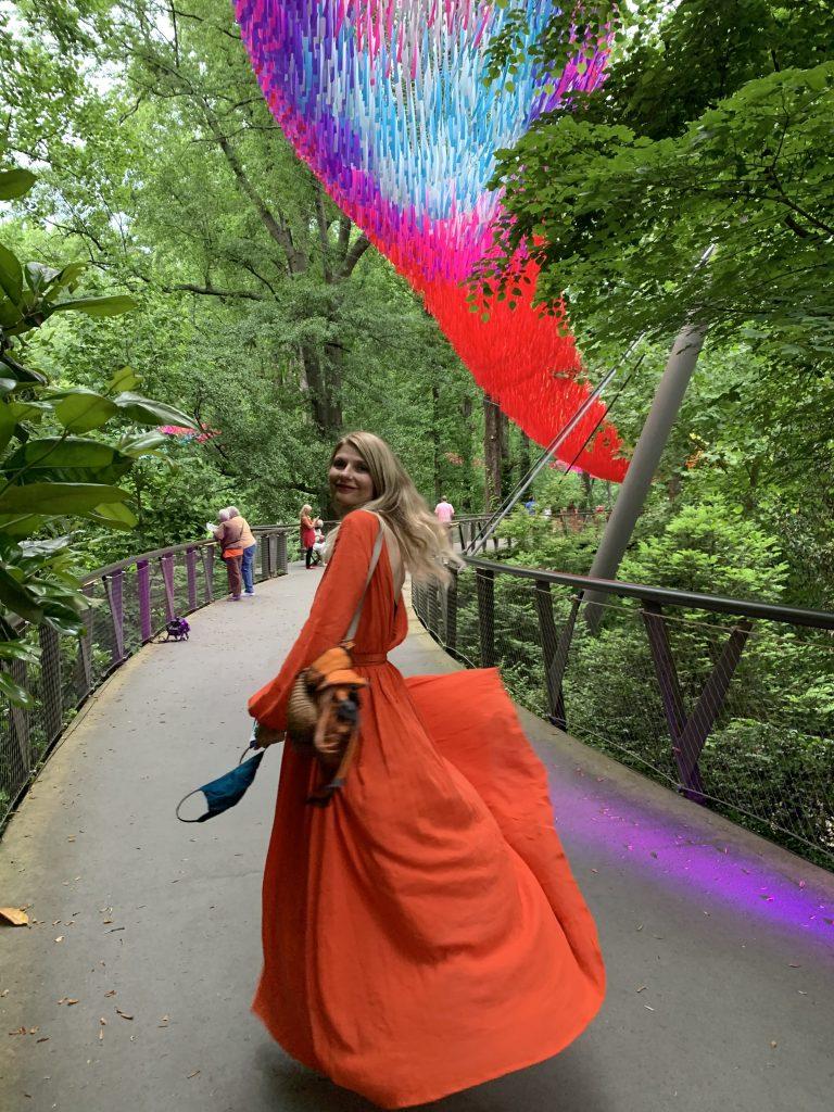 A dreamy walk through the Atlanta Botanical Garden while the aerial sculpture fluttered above.