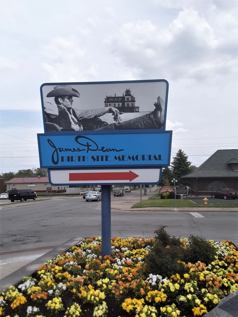 Entrance sign to the James Dean Birth Site Memorial