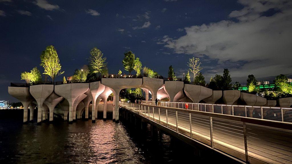 Little Island by Thomas Heatherwick lit up at night